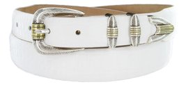 Manila Genuine Italian Leather Designer Dress Golf Belt(Alligator WHT,38) - $27.71