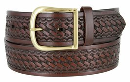 "Basketweave Work Uniform Genuine Leather Belt 1.75"" for Women (Brown, 46) - $24.74"