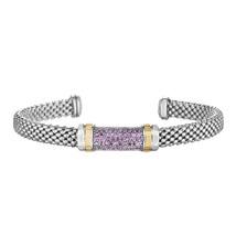 Phillip Gavriel Sterling Silver Pink Sapphire Bar Design Cuff Bracelet - $399.99