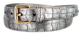 7075 Women's Skinny Alligator Embossed Leather Casual Dress Belt (Silver, Small) - $6.92