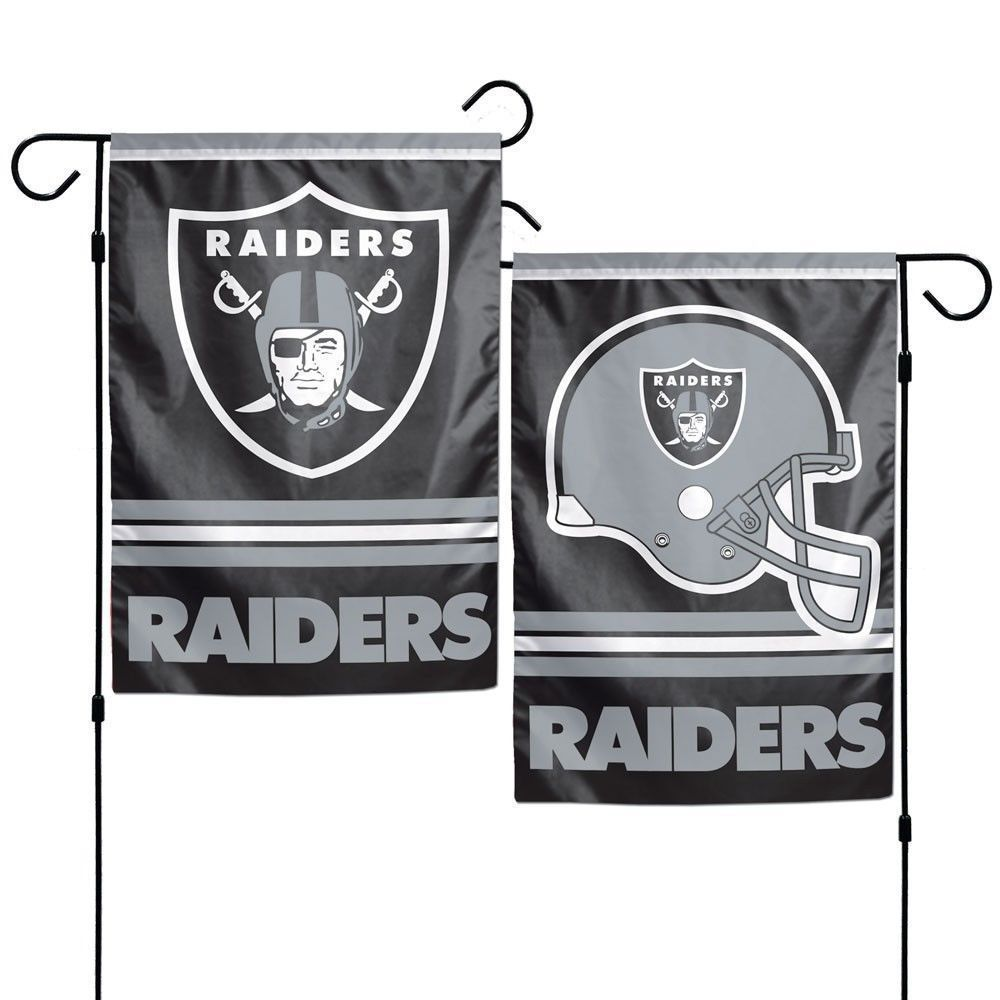 "OAKLAND RAIDERS TEAM GARDEN WALL FLAG BANNER 12"" X 18"" 2 SIDED NFL FOOTBALL"