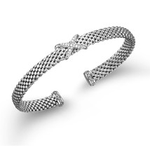 "Phillip Gavriel Sterling Silver Diamond ""X"" Design Cuff Bangle Bracelet - $299.99"