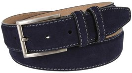 "Granada Men's 100% Suede Nubuck Leather Dress Belt 1-3/8"" Wide (Navy, 38) - $19.75"