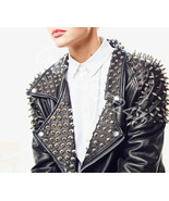 New Woman Black Full Silver Spiked Studded Punk Unique Biker Leather Jacket - $299.99