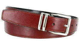 "Men's Reversible Genuine Leather Dress Casual Belt 1-1/8"" = 30mm wide - Burgu... - $12.82"