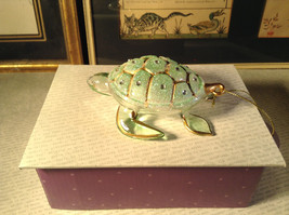 Glass Sea Turtle Ornament by Holiday Tree with Gold Tone Accents Decoration image 3