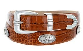 Golf Club - Men's Italian Calfskin Designer Dress Belt with Golf Conchos (40 ... - $39.55