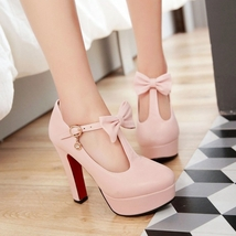 pp2389 Feminine T-type strappy pump w bow, extra size, US Size 3-11, pink - $52.80
