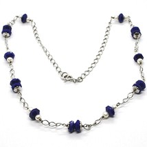 Necklace Silver 925, Lapis Lazuli Blue Disco Faceted, Pearls, 45 CM image 1