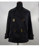 Style & Co Big Button Double Breasted Jacket Size Small Black Casual, Work - $19.95
