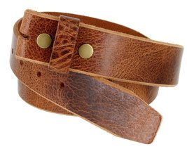 Genuine One Piece Full Grain Vintage Buffalo Leather Belt Strap - $16.82