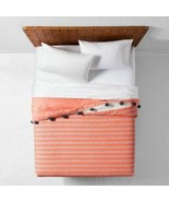 OpalHouse Pom Pom Trim Seine Stripe QUILT TWIN TWIN XL Coral Peach  New - $53.45