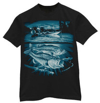 Bass & boat fishing design graphic tee mens T-... - $15.99 - $19.99
