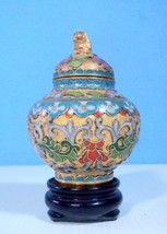 Vintage cloisonne vase with foo dog display wood stand c,1940 to 1960 f3 u - $17.86