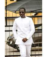 All White Long Sleeve Shirt and Trousers African Clothing Men's Fashion ... - $85.00