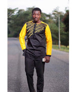 Yellow and Black Men's Long Sleeves Shirt and Pants African Clothing Men... - $85.00