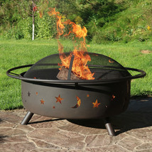 Fire Pit Grill Large Cooking Wood Burning Screen Tools Cover Outdoor Backyard image 1
