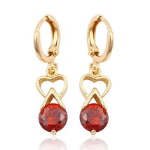Fashion Elegant Jewelry Beautiful Round Pomegranate Red Golden Earrings Design - $12.86