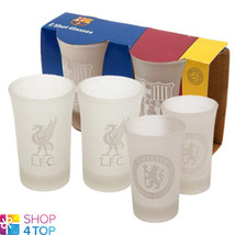 OFFICIAL FOOTBALL SOCCER CLUB TEAM 2 SHOT GLASSES SET DRINKING CLEAR GLA... - $12.74