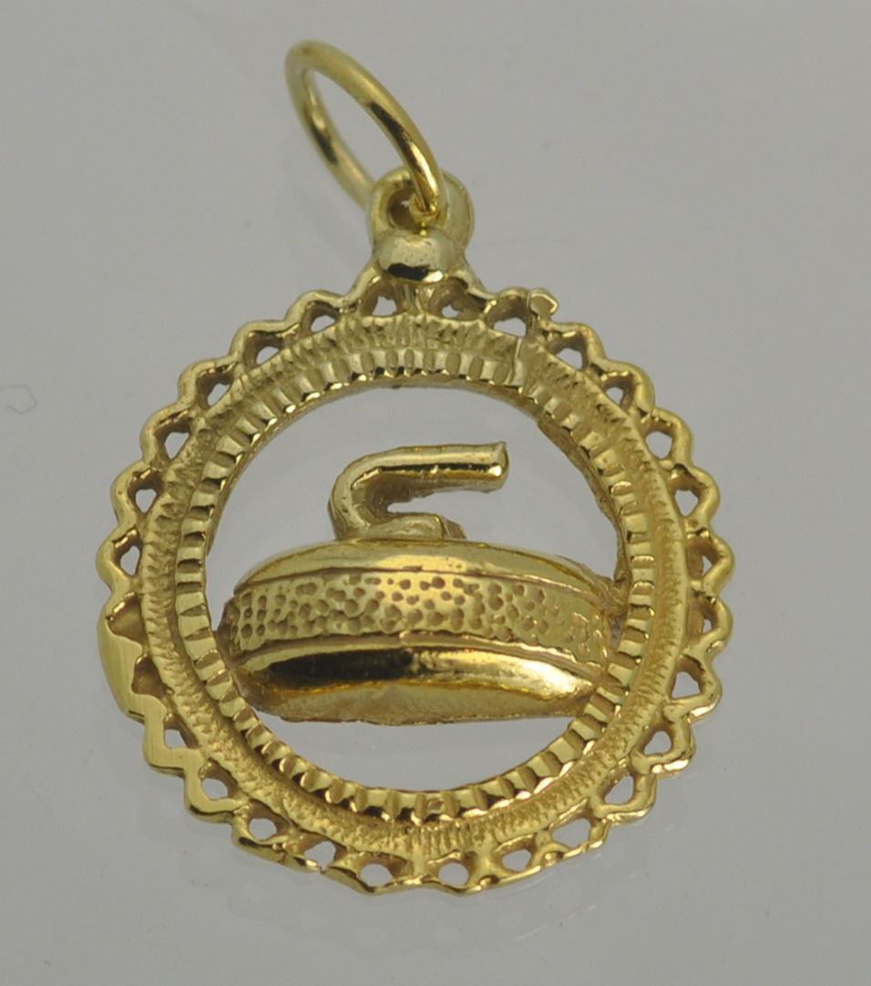 COOL Curling sport pendant charm 24K Gold Plated over 925 sterling silver Jewelr - $17.73