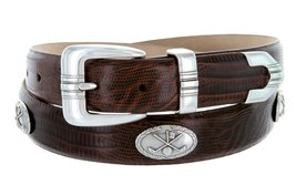 Golf Club - Men's Italian Calfskin Designer Dress Belt with Golf Conchos (44 ... - $39.55