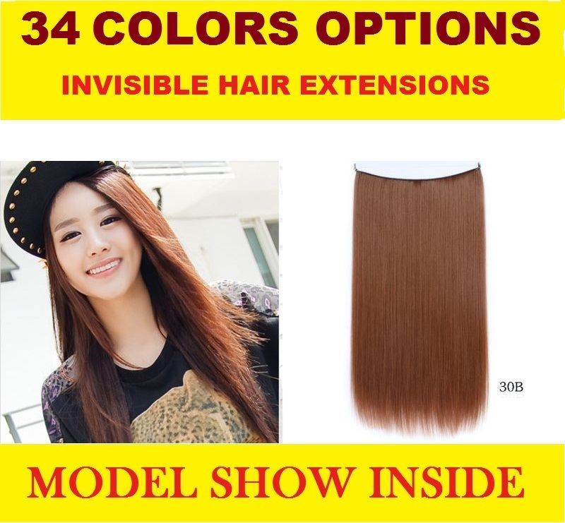 "Primary image for New Women Fishing Line Invisible Hair Extensions Straight Long 55cm/21.65"" 80g"