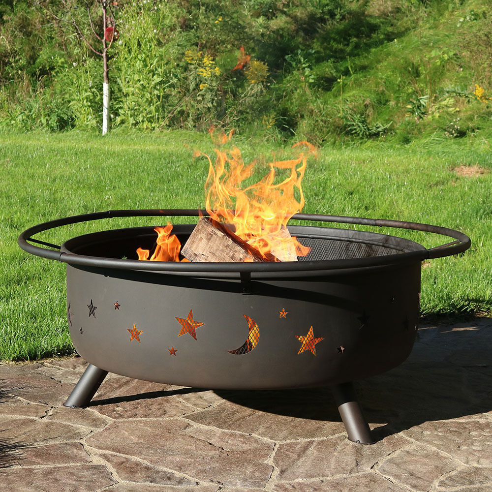 Fire Pit Grill Large Cooking Wood Burning Screen Tools Cover Outdoor Backyard image 2