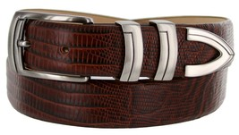 8191 Italian Calfskin Leather Designer Dress Belts (Lizard Brown, 44) - $29.20