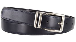 "Men's Reversible Genuine Leather Dress Casual Belt 1-1/8"" = 30mm wide - Navy/... - $12.82"