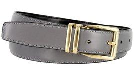 "Men's Reversible Genuine Leather Dress Casual Belt 1-1/8"" = 30mm wide - Gray/... - $12.82"