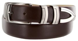 8191 Italian Calfskin Leather Designer Dress Belts (Smooth Brown, 44) - $29.20
