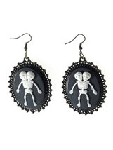 Freak Show Conjoined Twins Victorian Vintage Cameo Style Hook Earrings - $4.75