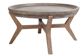 Stunning Round Wood & Waxed Concrete Tunis Coffee Table Moroccan Coastal Rustic - $656.67