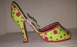 High Spirits High Heel Shoe Wine Bottle Holder Green w Pink Polka Dots NEW - $24.49