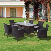 Rattan Garden Dining Set 6 Armchairs + Table Rectangular Patio Set Mixed... - $624.65