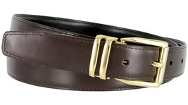 "Men's Reversible Genuine Leather Dress Casual Belt 1-1/8"" = 30mm wide - Brown... - $12.82"