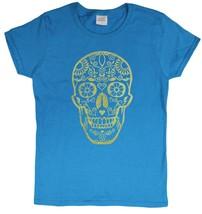 "Ladies De Los Muertos ""Day Of The Dead"" Skull Glittery Foil Print T-Shirt (Me... - $15.31"