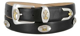 Bellerive Men's Italian Calfskin Designer Dress Belt with Golf Conchos (Smoot... - $39.55