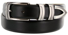 8191 Italian Calfskin Leather Designer Dress Belts (Smooth Black, 36) - $29.20