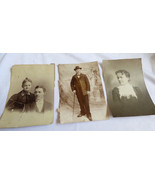 LOT OF 3 ANTIQUE ORIGINAL PHOTOGRAPH PHOTO MEN  WOMEN 1901 1902 1800's - $34.65