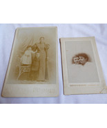 LOT OF 2 ANTIQUE ORIGINAL CABINET PHOTOGRAPH PHOTO WOMEN MOTHER CHILD BABY - $24.75