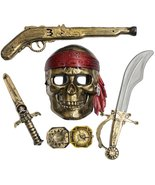 Skeleton Pirate Buccaneer 5 Piece Costume Accessory Kit - $6.68