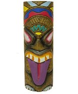 Hand Carved Hand Painted 10 Inch Large Tiki Totem Pole (Purple Tongue) - $11.47