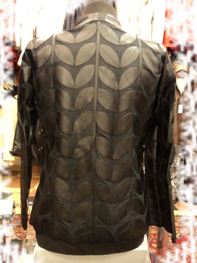 Black Leather Leaf Jacket Women All Colours Sizes Genuine Short Zipper Light D1