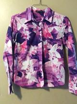 BCBG Nordstrom Cotton Purple Floral Print Button Front Top Shirt Blouse Sz 10 - $14.50