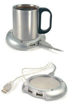 USB Warmer Heater Cup Tea Coffee Hub Port 4 Mug Pad Portable Electric Tray  - £4.46 GBP