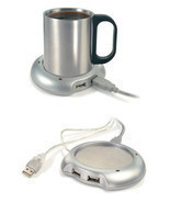 USB Warmer Heater Cup Tea Coffee Hub Port 4 Mug Pad Portable Electric Tray  - £4.19 GBP