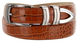 8191 Italian Calfskin Leather Designer Dress Belts (Alligator Tan, 40) - $29.20