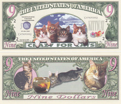 50 Cat Crazy for Cats $ 9 Novelty Money Bills Lot - $11.87