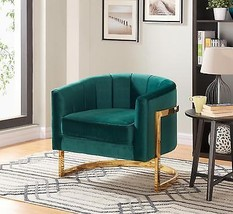 Meridian 515 Carter Accent Chair in Green Stainless Steel Contemporary S... - $616.00